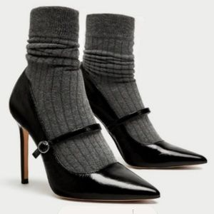 Zara Zapato Taco patent leather spike heels w/sock